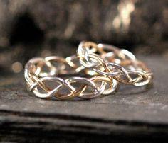 14k Gold Braided Ring - 18ga White & Yellow Gold - size 5.75