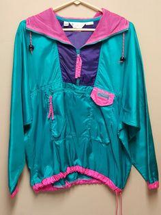 Columbia LARGE Radial Sleeve Pink Green Purple Vintage Windbreaker Hood Pullover #Columbia #Windbreaker #Casual