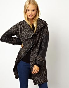 ASOS | ASOS Biker Coat With Funnel Neck And PU Sleeves at ASOS