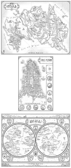 Househead - Set of fantasy maps by MaximePLASSE Kenny Gould Househead's Guide to Planet Hopping, World Saving and Intergalactic Monster Hunting map cartography | Create your own roleplaying game material w/ RPG Bard: www.rpgbard.com | Writing inspiration for Dungeons and Dragons DND D&D Pathfinder PFRPG Warhammer 40k Star Wars Shadowrun Call of Cthulhu Lord of the Rings LoTR + d20 fantasy science fiction scifi horror design | Not Trusty Sword art: click artwork for source