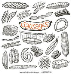 Freehand food icons for restaurant menu or food package design. Meat Drawing, Food Drawing, Menu Illustration, Food Illustrations, Food Packaging, Packaging Design, Meat Icon, Doodle, Sausages