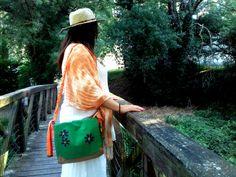 floral bag, handpainted.