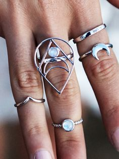 Moon Child, Mystic One and Unicorn Tears Ring from Dixi Jewellery