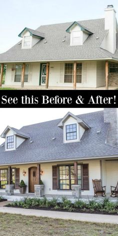 FIXER UPPER Renovation With European Country Rustic Decor! - Hello Lovely Before and after: See my favorite Fixer Upper renovation for the Ignacio family who wanted a rustic Italian farmhouse. Rustic Exterior, Modern Farmhouse Exterior, Rustic Home Exteriors, Home Exterior Makeover, Exterior Remodel, Italian Farmhouse, Farmhouse Style, Farmhouse Decor, Farmhouse Garden