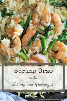 This meal is a tripe threat. Tender asparagus is sauteed with garlic and juicy shrimp, topped with a simple Parmesan sauce and served over rich Orzo pasta cooked in broth. In just 30 minutes you can have a dinner that is fancy en Orzo Recipes, Easy Dinner Recipes, Seafood Recipes, Healthy Recipes, Easy Dinners, Shellfish Recipes, Yummy Recipes, Recipies, Cooking Recipes