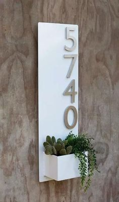 x White Succulent Hanging Planter & Metal Address Plaque - Vertical Wall Planter with Brushed Aluminum Address Numbers
