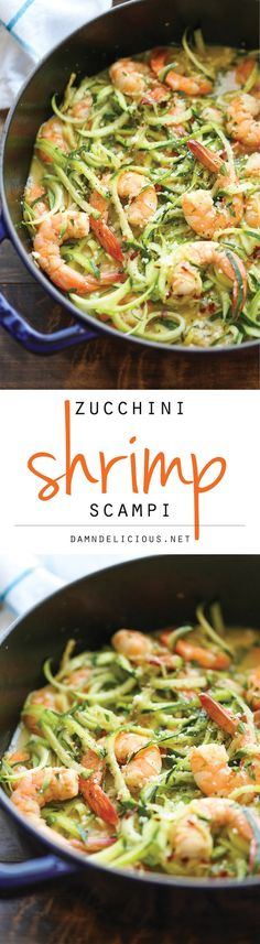 Recipes Shrimp Zucchini Shrimp Scampi - Traditional shrimp scampi made into a low-carb dish with zucchini noodles. It's unbelievably easy, quick & healthy! Zoodle Recipes, Spiralizer Recipes, Fish Recipes, Seafood Recipes, Paleo Recipes, Low Carb Recipes, New Recipes, Cooking Recipes, Vegetarian Recipes