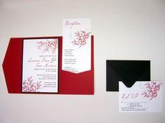 Wedding Invitation DIY Pocketfold Cherry Blossom by ticklemeink, $60.00