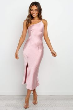 Midi Dress With Slit, Satin Midi Dress, Mauve Dress, Pink Dress, Palazzo Dress, Winter Dresses, Formal Dresses, Cowl Neck Dress, Dusty Pink