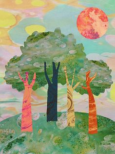 Orie's scenery art.  #景色の絵 #景色イラスト #丘 #イラスト #自然の絵 #scenery  #おしゃれイラスト Painting, Painting Art, Paintings, Painted Canvas, Drawings