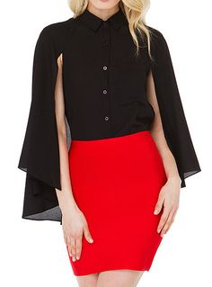 Fvogue Hot Selling Resplendent Cape Sleeves Lapel Solid Color Blouse----------$12.99