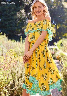 Matilda Jane Hooked on a Feeling off the shoulder floral asymmetrical dress Smal Modest Fashion, Fashion Dresses, Hooked On A Feeling, Matilda Jane, Asymmetrical Dress, Yellow Dress, Types Of Fashion Styles, Shoulder Dress, Short Sleeve Dresses