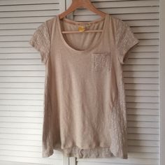 Anthropologie Top Cream colored half knit scoop neck top from Anthro. Anthropologie Tops