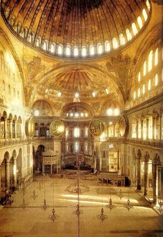 john singer sargent painting of hagia sophia - in painting the Hagia Sophia, Sargent had only used one color -- many shades of gold.