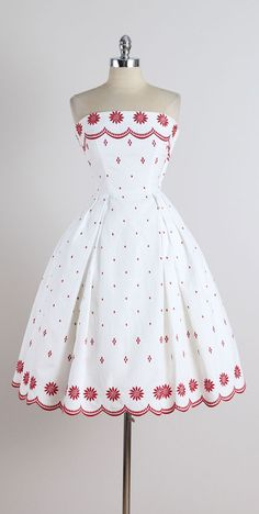 Vintage 1950s Ruth Chagnon White Cotton Pique Dress