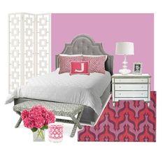 Teen Girl's Room- love the monogram pillow idea