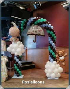 Lovely balloon arch for a baby shower. Baby Shower Balloons, Baby Shower Parties, Baby Boy Shower, Ballon Decorations, Birthday Party Decorations, Birthday Parties, Balloon Columns, Balloon Arch, Baby Shower Centerpieces