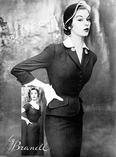 Jean Patchett in dress and jacket by Branell, Harper's Bazaar, May 1953