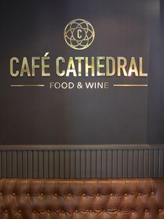 Café Cathedral in Oslo, designed by Metropolis arkitektur & design. Ragnar, Oslo, Wine Recipes, Cathedral, Company Logo, Food, Design, Essen, Eten