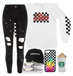 """is the pumpkin spice latte really that good?"" by kaitelinlaura ❤ liked on Polyvore featuring River Island and Vans"