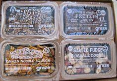 I tried a Graze Box so you don't have to. Protein Box, Graze Box, Peanut Cookies, Edamame Beans, Ramen Noodles, Fudge, Cocoa, Roast, Vanilla