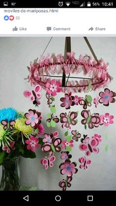 Pink heart and butterfly ceiling craft