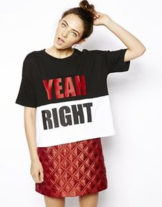 ASOS Monochrome Textured T-Shirt with Yeah Right