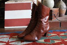 80s/90s brown victorian / edwardian / granny boots by acupfullofsunshine on Etsy