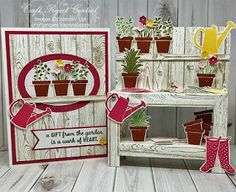 Garden Workbench & Card If you love gardening, or have a friend/relative who gardens, they would love receiving this adorable workbench and matching card. The workbench features potted plants a… Fun Fold Cards, 3d Cards, Pop Up Cards, Folded Cards, Stampin Up Cards, Bridge Card, Karten Diy, 3d Paper Crafts, Marianne Design