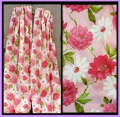 1960s Drapes Pink Peony Flower Curtains Mint Mid Century Spring from toinetterl on Ruby Lane
