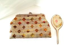 VINTAGE GOLD LAME EVENING BAG PURSE WITH MATCHING HAND MIRROR GOLD METAL CHAIN