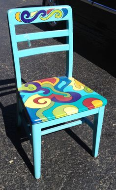 Fun & Funky colorful hand painted solid by JJPFurnitureMakeover