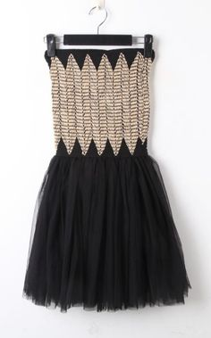 Apricot Black Strapless Pleated Lace Dress