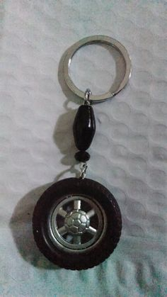 Tire keychain with beads by Purrwoof on Etsy, $5.00