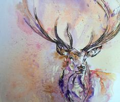 Watercolor stag would make a beautiful tattoo