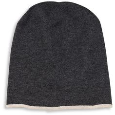 Brunello Cucinelli Cashmere Heathered Reversible Beanie ($390) ❤ liked on Polyvore featuring men's fashion, men's accessories, men's hats, apparel & accessories, lead gravel, mens beanie hats, mens cashmere hat and mens cashmere beanie hat