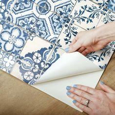 Blue Mosaic Tile Peel and Stick Wallpaper Wallpaper Panels, Wallpaper Roll, Peel And Stick Wallpaper, Vinyl Wallpaper, Peel And Stick Tile, Stick On Tiles, Blue Mosaic Tile, Stick Tile Backsplash, Mediterranean Tile