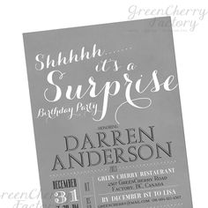Surprise Birthday Invitation - Gray and Black - Milestone Printable Adult Birthday Invitation - No.309. $18.00, via Etsy.