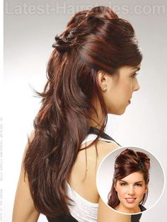 Smooth + Long Layered Dark Half Updo - Long thick layered hair looks amazing with a slight curl/wave to it.  Pulling the front and sides back opens up your face and makes you look fierce, especially with the extreme volume on top.