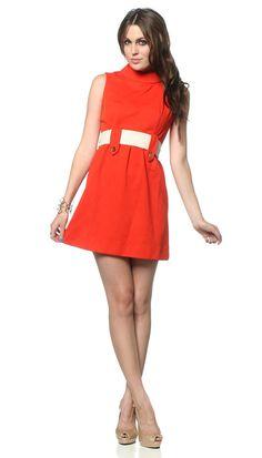 1960s Mod Dress Orange White Belted Space Age 60s Mini by oldage