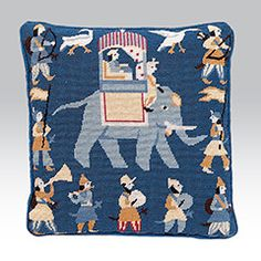 Indian Elephant Blue, fun needle point design in striking blues with Indian characters and birds