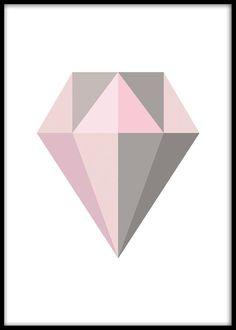 Fin grafisk tavla med diamant i grått och rosa. Desenio har flera posters och prints i fina pastellfärger som passar ihop med denna. Har även snygga posters med diamanter som är grafiska i både svartvitt, färg, guld och silver. Denna diamanposter passar fint i svart eller vit tavelram.