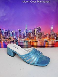Womens shoes CLASSIFIED shiny sky blue Strappy Chunky Slide Sandals sz 8.5 M #Classified #Slides