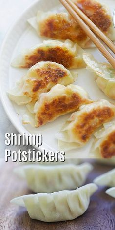 Shrimp Potstickers - Delicious potstickers filled with juicy shrimp. This potstickers recipe is so easy with a step-by-step picture guide. Dark Chocolate Cakes, Pastel, Sweet Potato Soup, Finger Foods, Asian Recipes, Chinese Recipes, Dinner Recipes, Entree Recipes, Shrimp Recipes