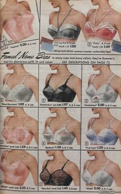 1950s Bras Styles. Strapless, longline and bullet bras were among some of the most popular just to name a few. #1950s #lingerie