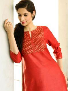 #bling #red #bold #dressy #vibrant #occasion #silk #kurta #evening #women #fashion #Fabindia