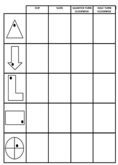 Transformations - Flips, Slides & Turns. Student worksheet/handout. Students follow instructions to manipulate simple 2D shapes. Instructions include - Flip, Slide, Quarter Turn Clockwise and Half Turn Clockwise. Students are required to either manipulate or visualise the flip, slide or turn and then redraw the shape after each instruction.