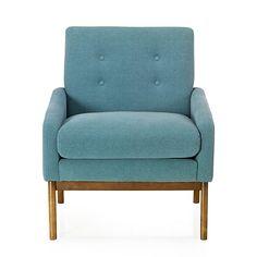 Sophia Fauteuil vintage en tissu bleu