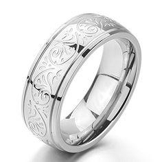 MunkiMix 7mm Edelstahl Ring Band Silber Gravierte Florentine Design- Charme Elegant Größe 5~15 Herren