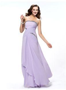 Fashionable Ruffles Sheath/Column Strapless Crystal  Floor-Length Prom Dress